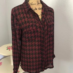 Cocomo Sheer Helms Tooth Red and Black Blouse Sm